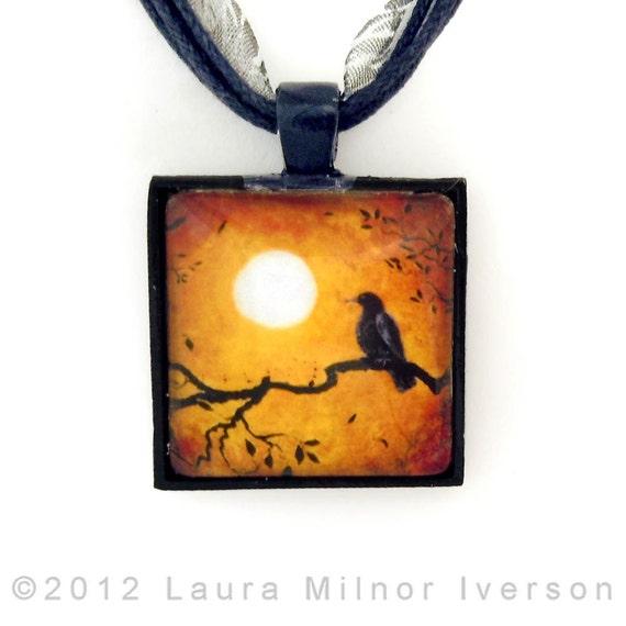 Raven Crow Leaves Autumn Tree Branch Art Handmade Jewelry