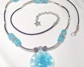 Turquoise Glass Flower Pendant Necklace
