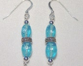 Turquoise Glass and Silver Beaded Earring