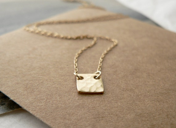 gold geometric jewelry - tiny gold square necklace - small hammered gold filled square - delicate modern jewelry by windowsill