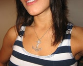 Silver Anchor Necklace with Rope