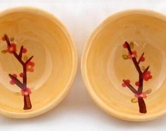 Little cherry blossom branch sauce bowls