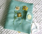 Blue cotton embroidered needle book with wool pages ... by Needle Book