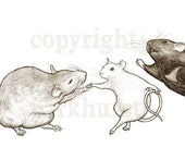 Dancing Rats Whimsical Signed Art Print Mice - toadbriar