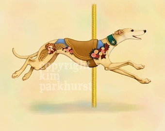 Carousel Cream Greyhound Series Signed Print 4