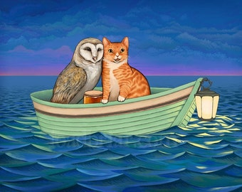The Owl and the Pussycat - signed print