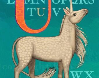 U Unicorn Alphabet Print 8x10 Signed