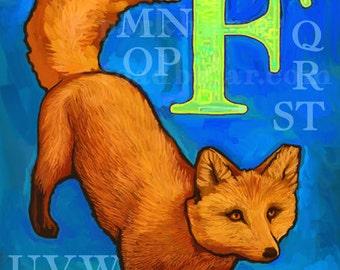 F Fox Alphabet Print 8x10 Signed