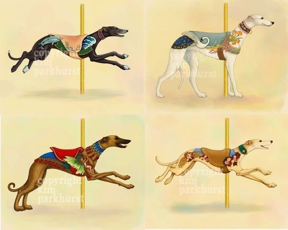 Carousel Greyhound Series Set of 4 Signed Prints