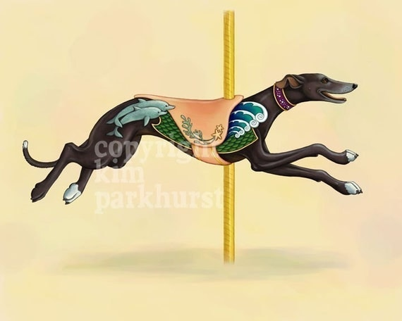 Carousel Black Greyhound Series Signed Print 3