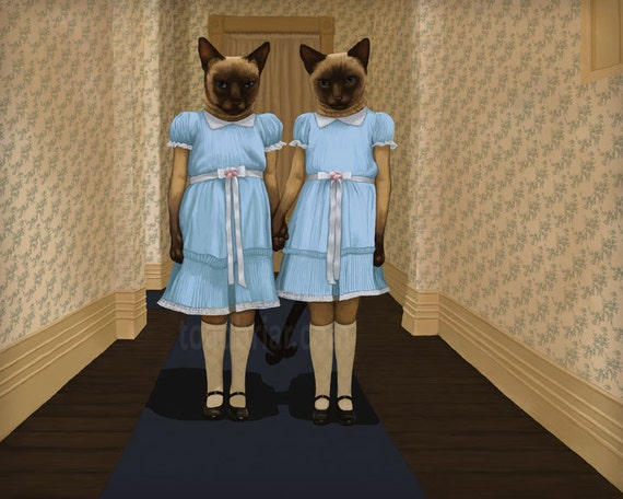 Siamese Twins - The Shining - Cat Print Signed