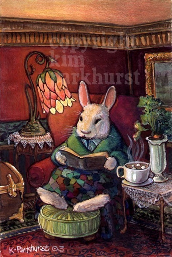 Cozy Rabbit Signed Print titled A Night In