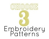 Choose Any 3 PDF Embroidery Patterns