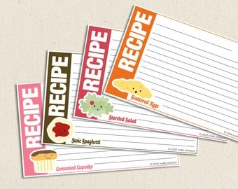 4x6-inch Food Friends - Printable Recipe Cards