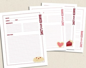 Baked with Love - Full Size Printable Recipe Pages