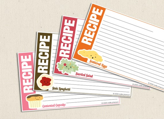 Food friends 3x5 inch printable recipe cards for 5x7 recipe card template for word