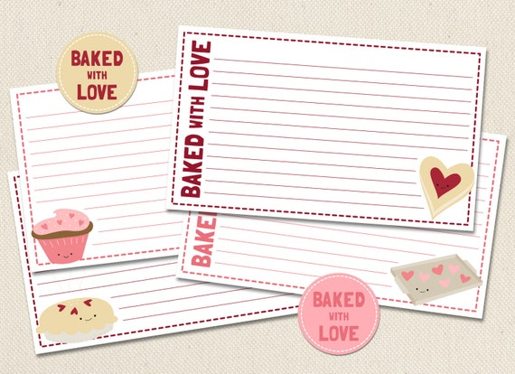 Baked  with Love - Printable 3x5 4x6 Recipe Cards with Tags