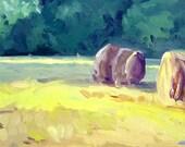 original panoramic oil TWO BALES at SUNSET