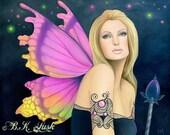 Original Oil Painting October Birthstone Tourmaline Fairy Jewel PinUp Fae Pink Wings Fantasy Art