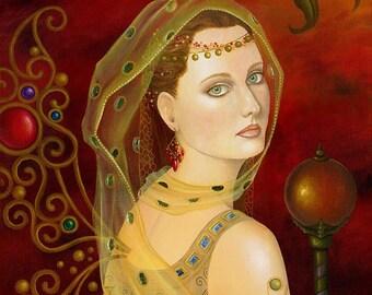 Original Art Nouveau Oil Painting Fairy Butterfly Malachite Gold Leaf Silver Sceptor Goddess Jewel Wings Ruby Lusk