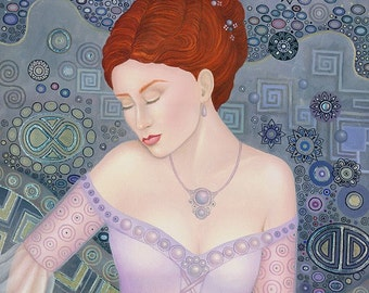 Original Oil Painting Art Nouveau Victorian Fairy Goddess Silver Leaf Platinum Blue Lusk