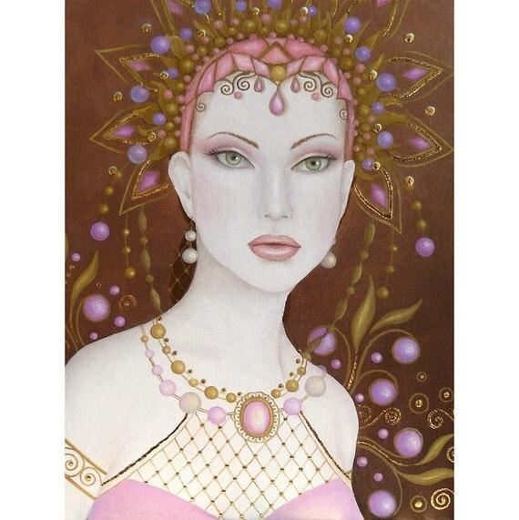 Large Art Nouveau Print Pink Pearl Jewel by B. K. Lusk