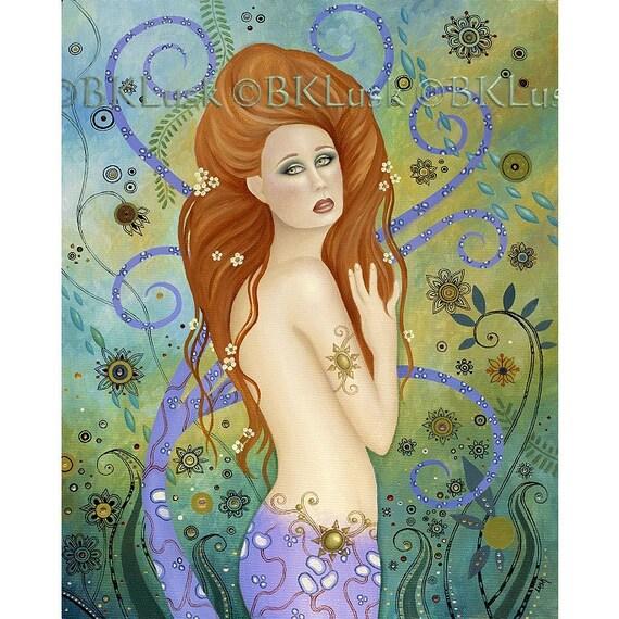 Large Mermaid art print Lady Poseidon Beautiful blue green Art Nouveau background by B. K. Lusk