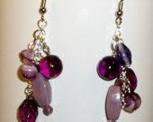SALE Purple Cluster Earrings Free Shipping
