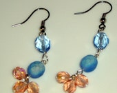 SALE Czech Glass Earrings Blue Pink Free Shipping