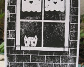 Doggie in the Window Note Cards - Blockprint Notecards