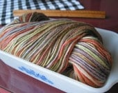 Hand dyed, worsted weight yarn