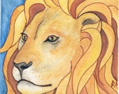 Aslan of Narnia - Art Squared  Watercolor, Original