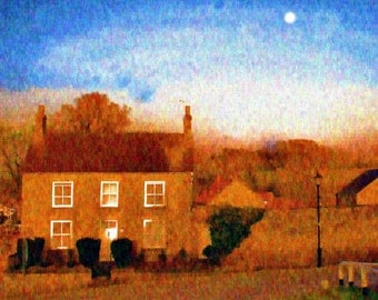 Cottage, Sun, Moon - open edition digital print Coxwold, North Yorkshire, England