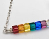 SALE - Margarethe - sterling and faceted swarovski crystal rainbow necklace