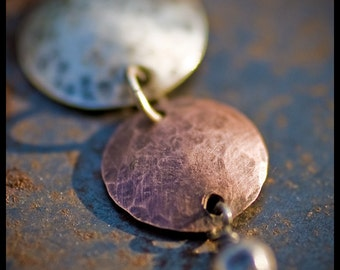 Jacquette - sterling silver and copper hand-hammered pendant necklace