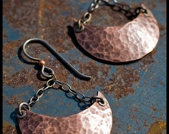 Alys - sterling silver, copper and niobium hand-hammered crescent earrings
