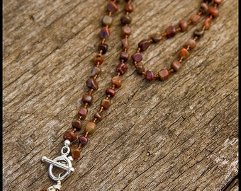 Wake Up, Little Susie - sterling, pietersite and carnelian necklace