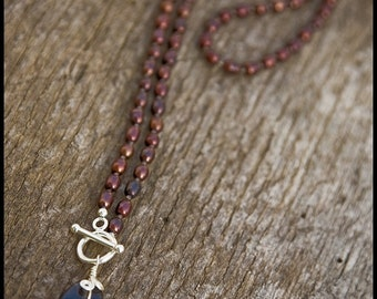 Jump, Rabbit, Jump - sterling, cranberry freshwater pearl and dendritic agate necklace