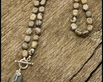 Wasn't There a Time When - sterling, landscape jasper, rutilated quartz and Bali silver necklace