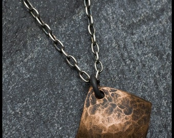 Philana - recycled sterling silver and copper hand-hammered diamond pendant necklace