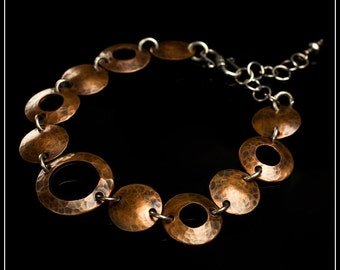 A Certain Balance - recycled sterling silver and copper hand-hammered disc bracelet