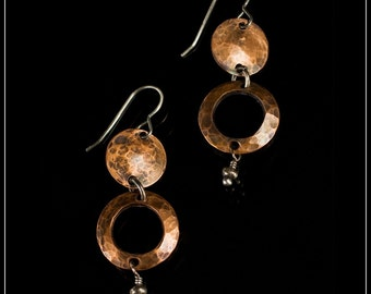 Zoey - recycled sterling silver and copper hand-hammered disc drop earrings