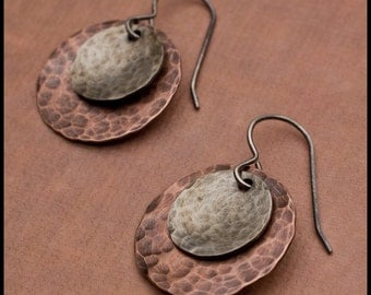 Katarina - recycled sterling silver hammered and oxidized disc earrings