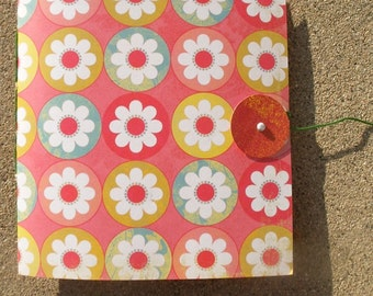 Hand Sewn Sketch Journal--Circular Flowers