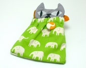 Cat in a Sleeping Bag Bag - Green Elephants