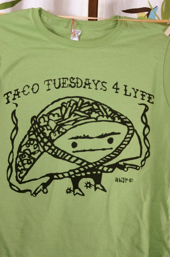 Ladies Extra Large Taco Tuesdays 4 Lyfe Guacamole Tee WX01