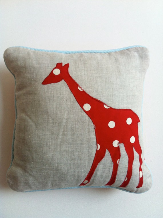 Natural Linen Animals Cushion - Red Giraffe