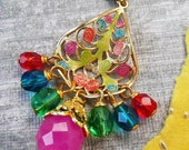 Bollywood Necklace- vibrant beaded pendant