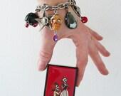 Rockabilly Charm Bracelet- big skull, star, heart charms