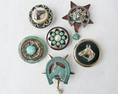 6 Western Horse Magnets - recycled jewelry and found objects